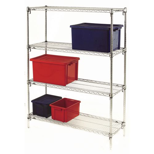 Metro Quick Adjusting Chrome Wire Shelving System 1590mm High Starter Unit WxD 1219x610mm 4 Shelves &4 Posts 350kg Shelf Capacity
