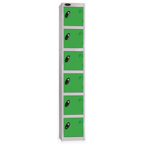 6 Door Locker D:457mm Silver Body &Green Door