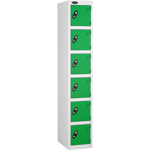 6 Door Locker D:457mm White Body &Green Door