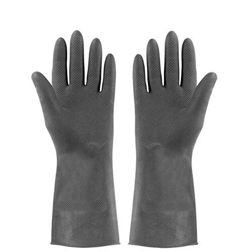 Rubber Gloves Black Extra Heavy Duty Gloves 8.5 Medium Pack of 12