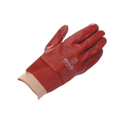 Gloves Red Pvc Knitwrist Size 8.5 Pack of 10 Pairs