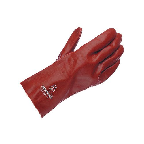 Gauntlet Red Pvc 27Cm Size 8.5 Pack of 10 Pairs