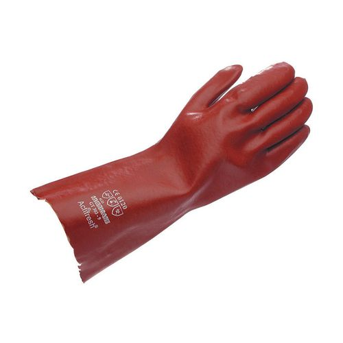 Gauntlet Red Pvc 35Cm Size 9.5 Pack of 10 Pairs