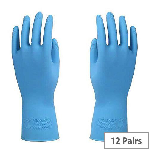 Azure Rubber Gloves Latex Gloves Size L Blue Pack of 12