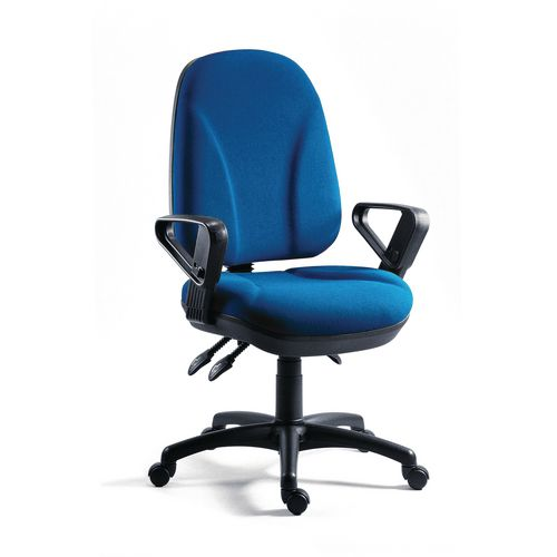 Chair Executive Operator Blue High Back With Arms