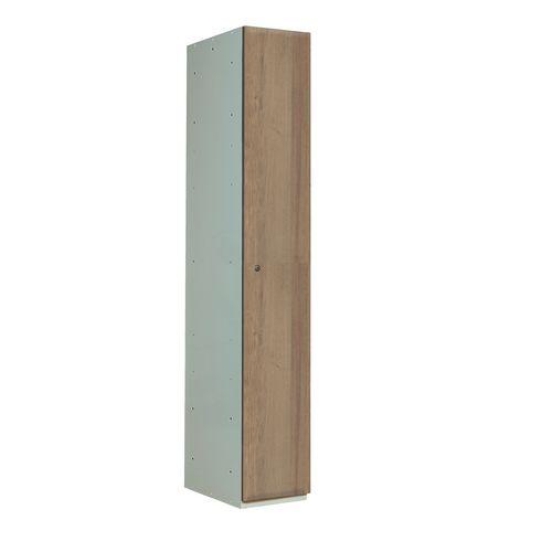Timber Door Locker Cross Medium Oak 1800x300x450 1 Compartment