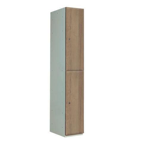 Timber Door Locker Plain Mediumm Oak 1800x300x450 2 Compartment
