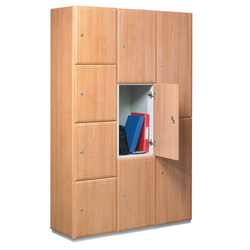 Timber Door Locker Plain Medium Oak 1800x300x450 3 Compartments