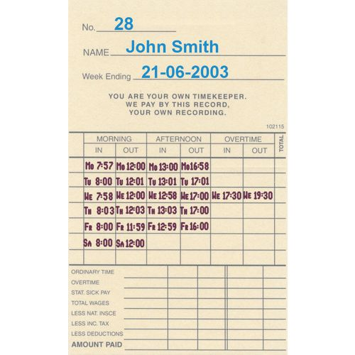 Time Recorder Clock Cards Suits Tp200 Pack Of 1000