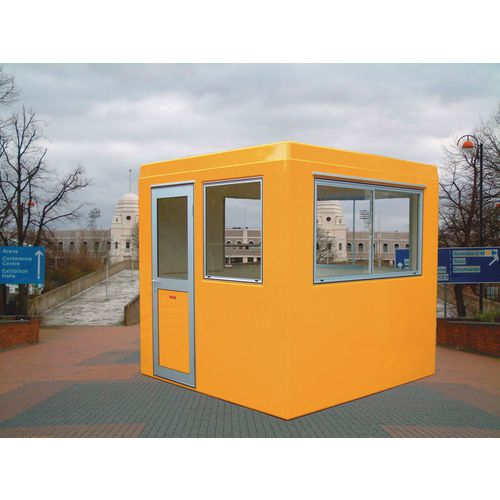 Gatehouse-Security Yellow With 3 Sliding Windows