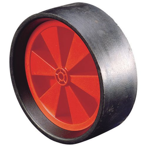"Wheel Rubber Tyred 260mm Dia.1"" Plain Bore 125Kg Load Capacity"