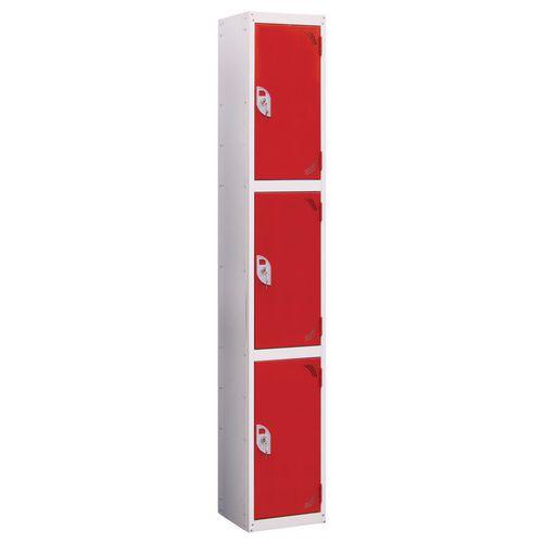Wet Area Locker 3 Compartment W300xD300 Red Door
