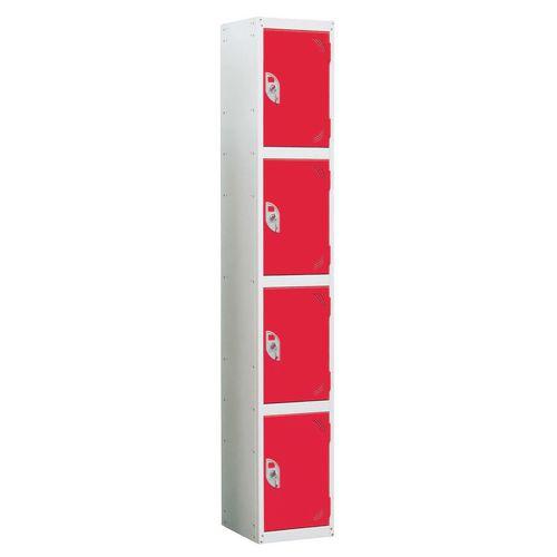 Wet Area Locker 4 Compartment W300xD300 Red Door