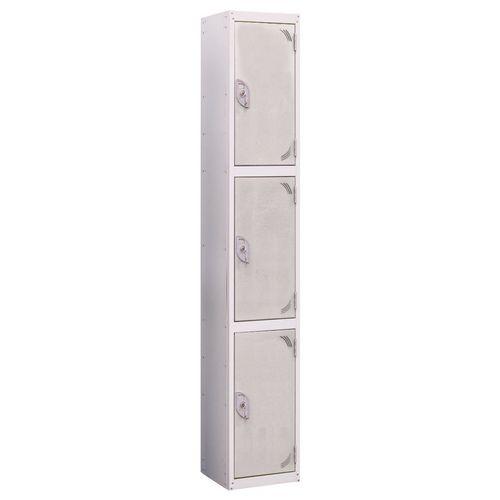 Wet Area Locker 3 Compartment W300xD450 Light Grey Door