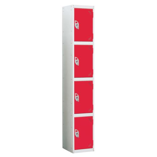 Wet Area Locker 4 Compartment W300xD450 Red Door