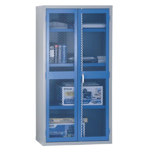 1830x915x459 Mesh Door Cabinet 3 Shelves Blue Doors