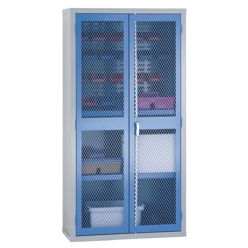 1830x915x459 Mesh Door Cabinet 1/2 Louvred 2 Shelves Blue Doors