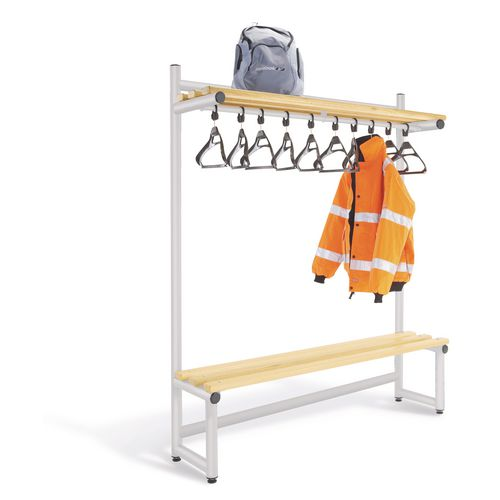 2000mm Single Sided Hanging Cloak Unit With Silver Frame And Ash Slats