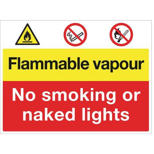 Sign Flammable Vapour No Smoking 600x450 Vinyl