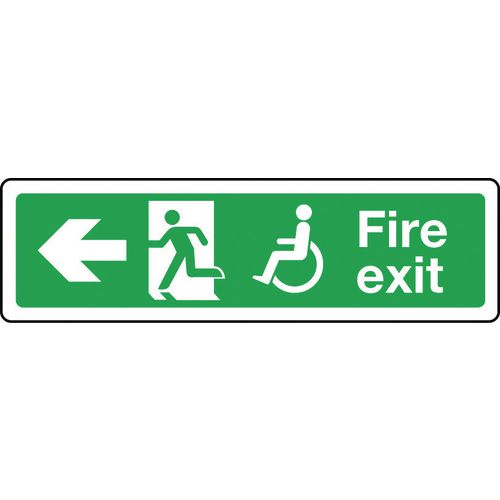 Sign Disabled Fire Exit Left 600x150 Vinyl