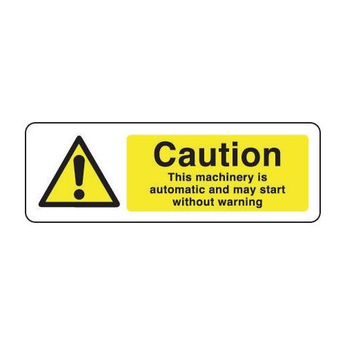 Sign Caution This Machinery 300x100 Vinyl