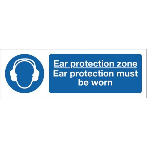 Sign Ear Protection Zone 600x200 Vinyl