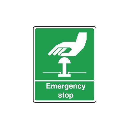 Sign Emergency Stop 250X300 Vinyl Green