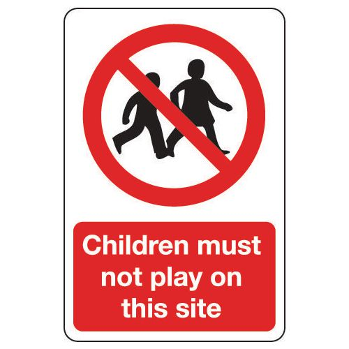 Sign Children Must Not Play 600x200 Vinyl
