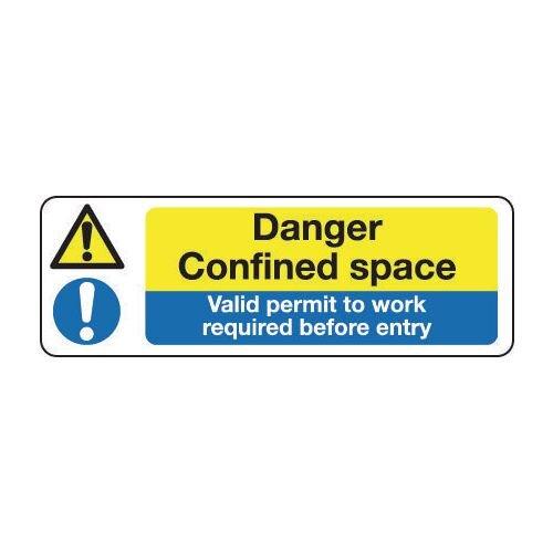 Sign Danger Confined Space 300x100 Vinyl