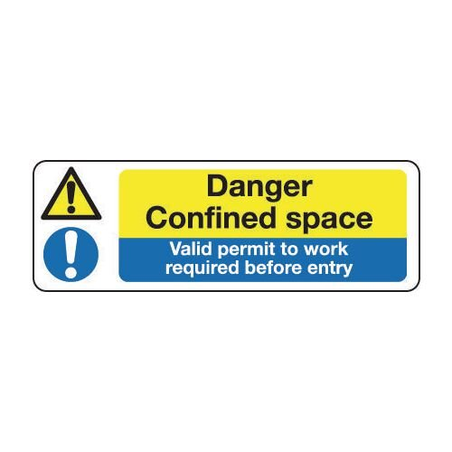 Sign Danger Confined Space 600x200 Vinyl