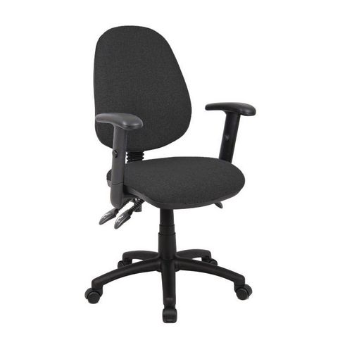 Vantage With Adjustable Arms High Back Operators Chair Adjustable Arms Charcoal