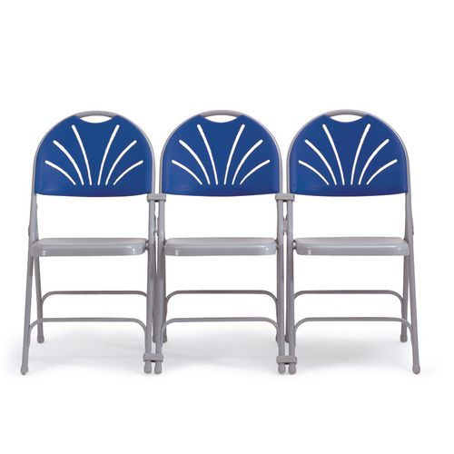 2600 Series Folding Chair Without Upholstery Comfort Back Blue Set of 4