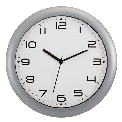 Wall Clock  30Cm Face Metalic Grey Bezel