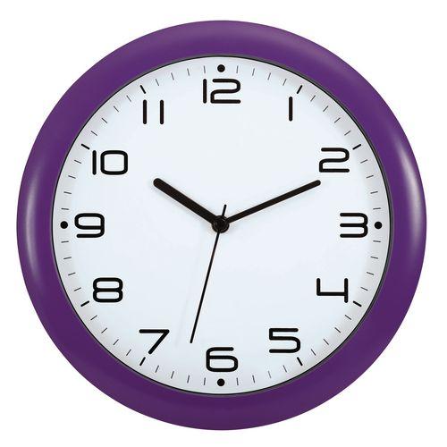 Wall Clock  30Cm Face Face Purple Bezel