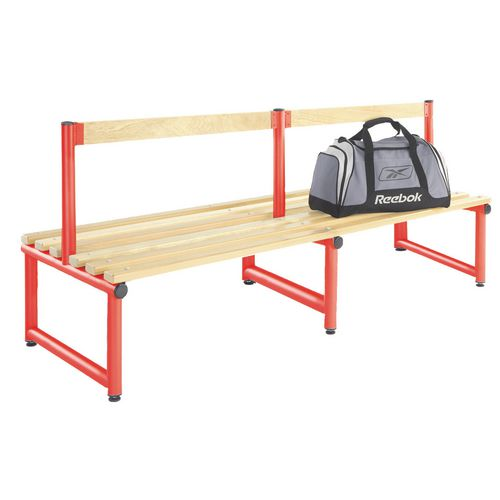 1000mm Single Double Sided Low Seat With Red Frame And Ash Slats