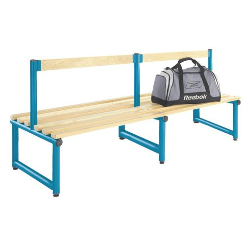 1000mm Single Double Sided Low Seat With Blue Frame And Ash Slats