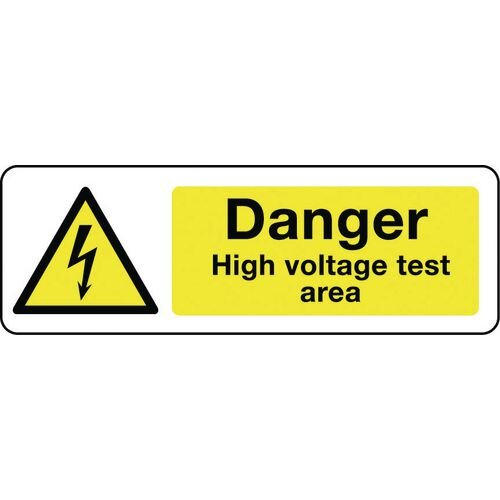 Sign Danger High Voltage Test Area 400x600 Vinyl
