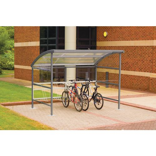 Premier Cycle Shelter And Cycle Rack - Standard Shelter - Plastic Roof And Sides Grey