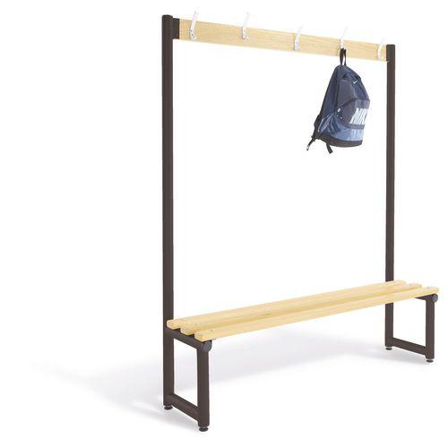 1000mm Single Sided Cloakroom Unit Black Frame With Ash Slats