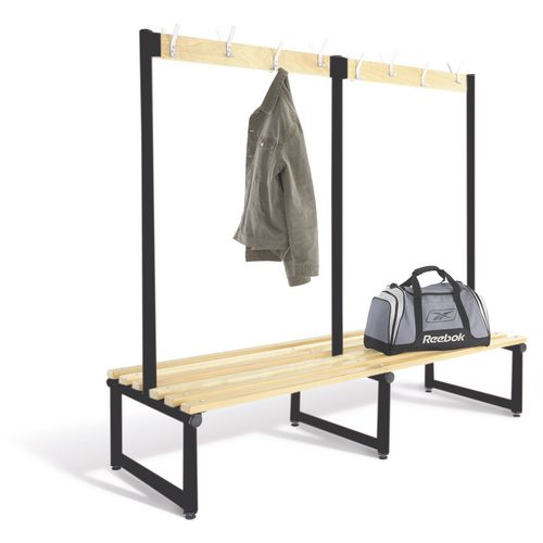 1000mm Double Sided Cloakroom Unit Black Frame With Ash Slats