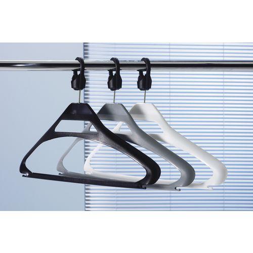 Coat Hangers Black Plastic &Captive Hooks Pack of 20