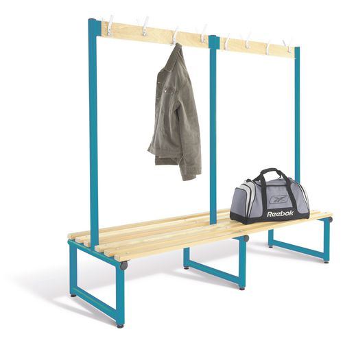 1500mm Double Sided Cloakroom Unit Blue Frame With Ash Slats