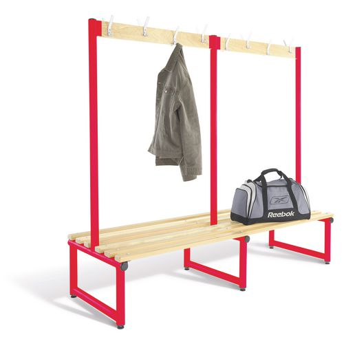 2000mm Double Sided Cloakroom Unit Red Frame With Ash Slats