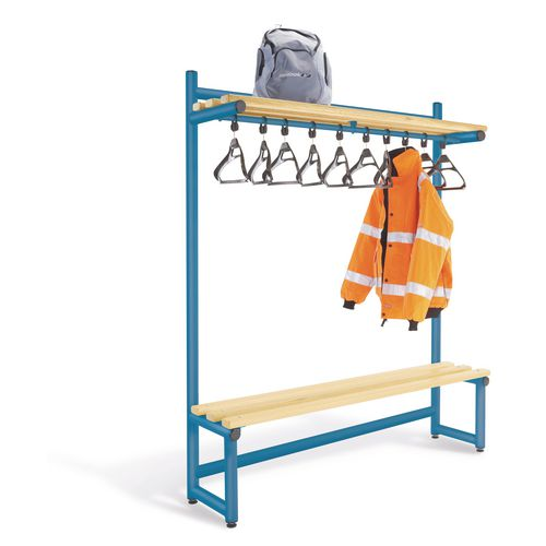 1500mm Single Sided Hanging Cloak Unit Blue Frame With Ash Slats