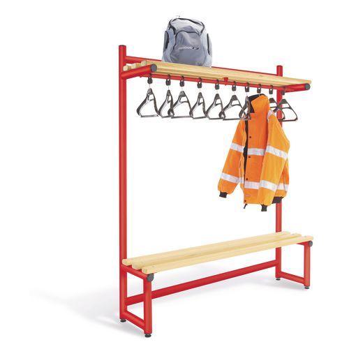 2000mm Single Sided Hanging Cloak Unit Red Frame With Ash Slats