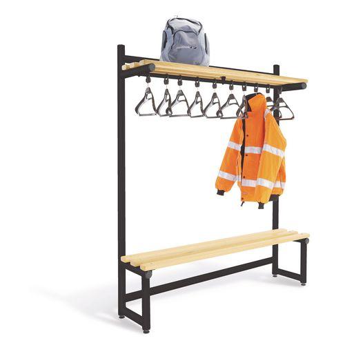 1000mm Single Sided Hanging Cloak Unit Black Frame With Ash Slats