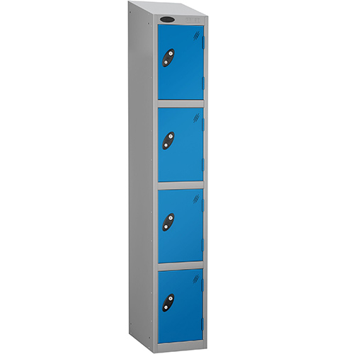 Economy Range Locker With Sloping Top 4 Door Depth:305mm Silver &Blue