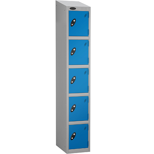 Locker Economy Range With Sloping Top 5 Door Depth:305mm Silver &Blue