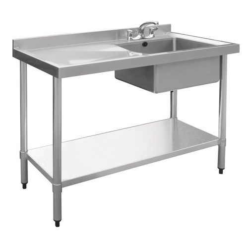 Stainless Steel Single Sink With Left Hand Drainer HxDxL mm: 900x600x1200