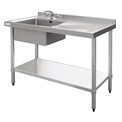 Stainless Steel Single Sink With Right Hand Drainer HxDxL mm: 900x600x1200